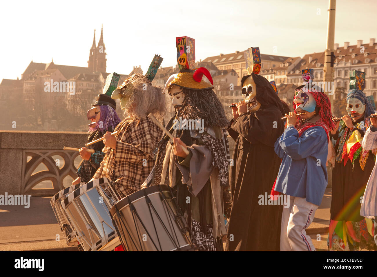 Carnival, carnival, town, city, event, canton, Basel, Switzerland, Europe, town, city, mood, morning, sun, light, Stock Photo