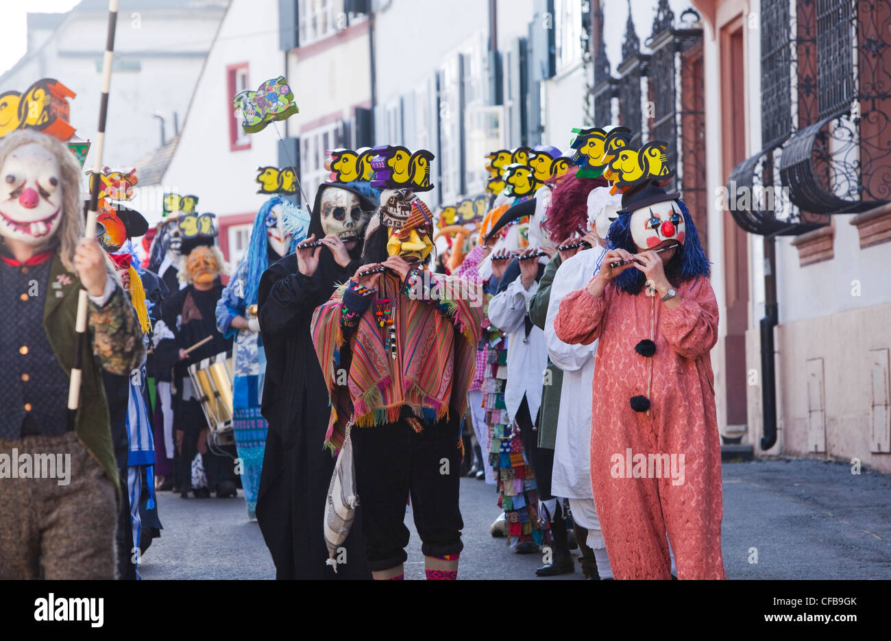 Carnival, carnival, town, city, event, canton, Basel, Switzerland, Europe, town, city, parade, move, piper, masks, Stock Photo