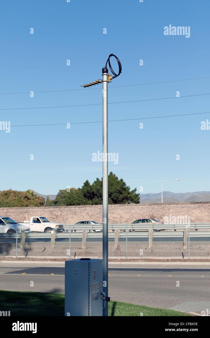 Air sampling sensor monitors pollutants near busy 880 Freeway in Milpitas, California - Stock Image