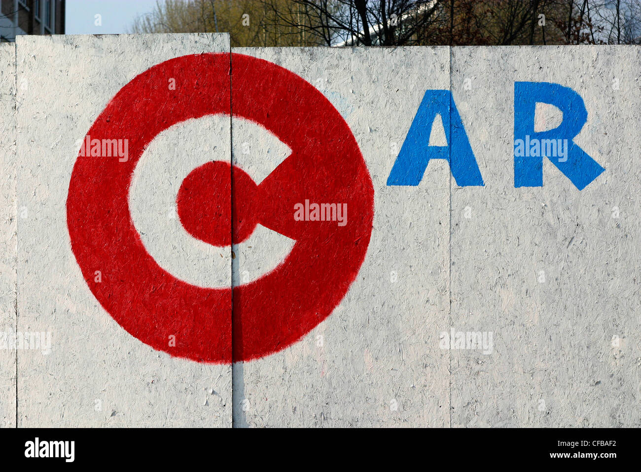 Car park sign based on congestion charge logo, London, UK. - Stock Image