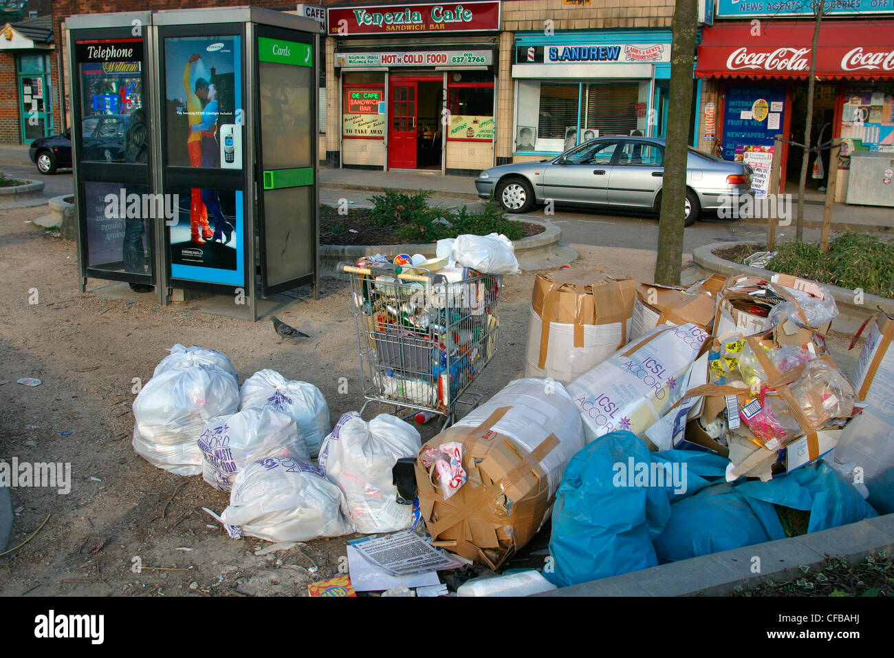 Rubbish on the streets, London, UK. - Stock Image