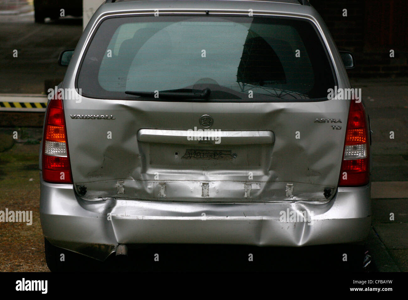 Rear ended car, London, UK. - Stock Image
