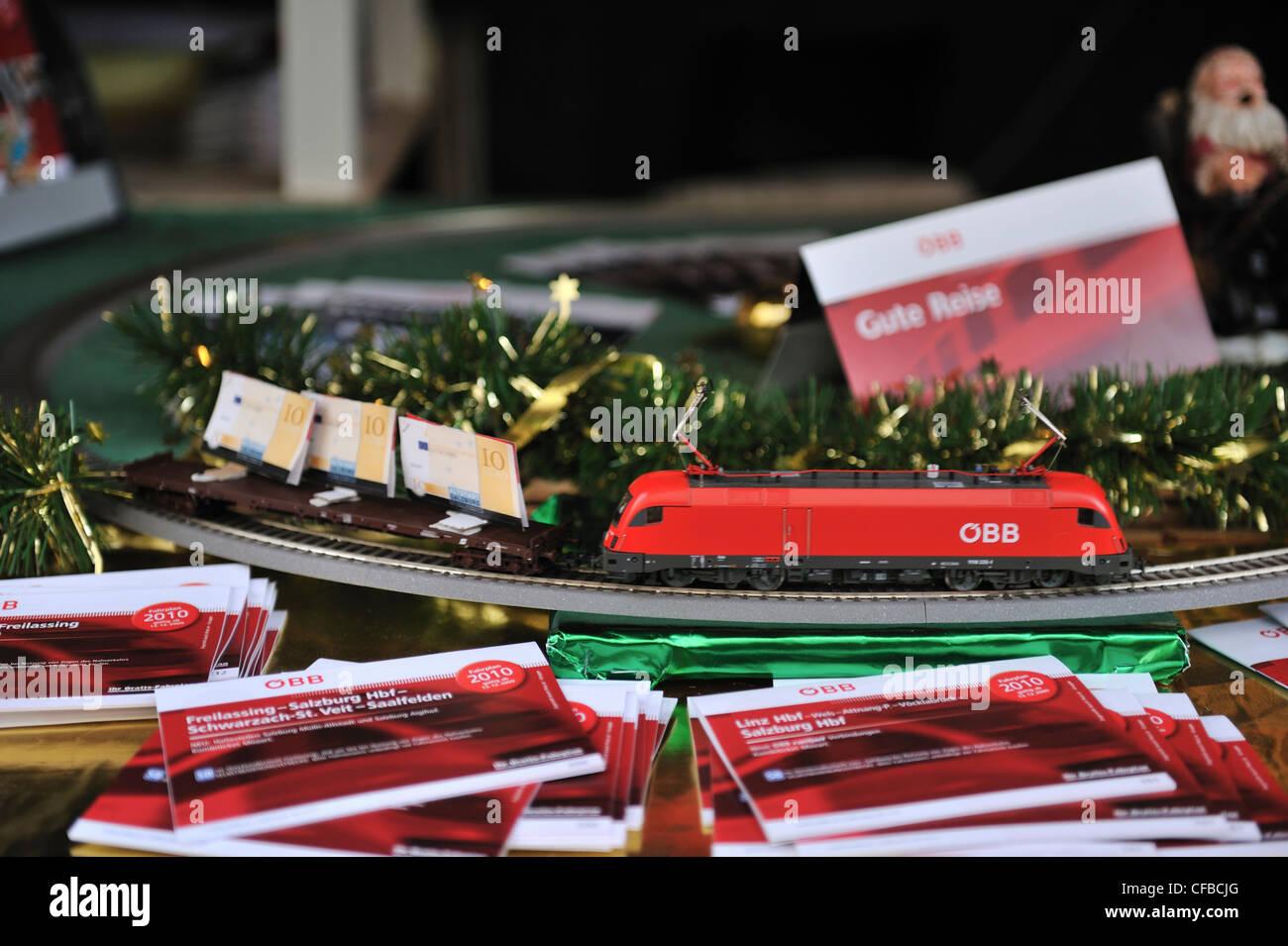 Model train advertising Austrian Federal Railways OBB - Stock Image