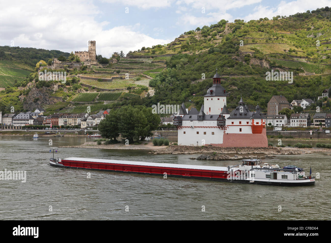 Ship, boat, ships, boats, Germany, river, flow, water, Rhine, Rhineland, Palatinate, transport, ship, journey, load - Stock Image