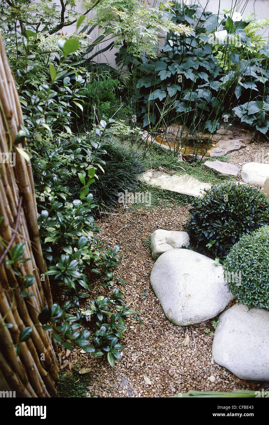 Small Gardens Garden Gravel Path, Two Round Shaped Bushes ...