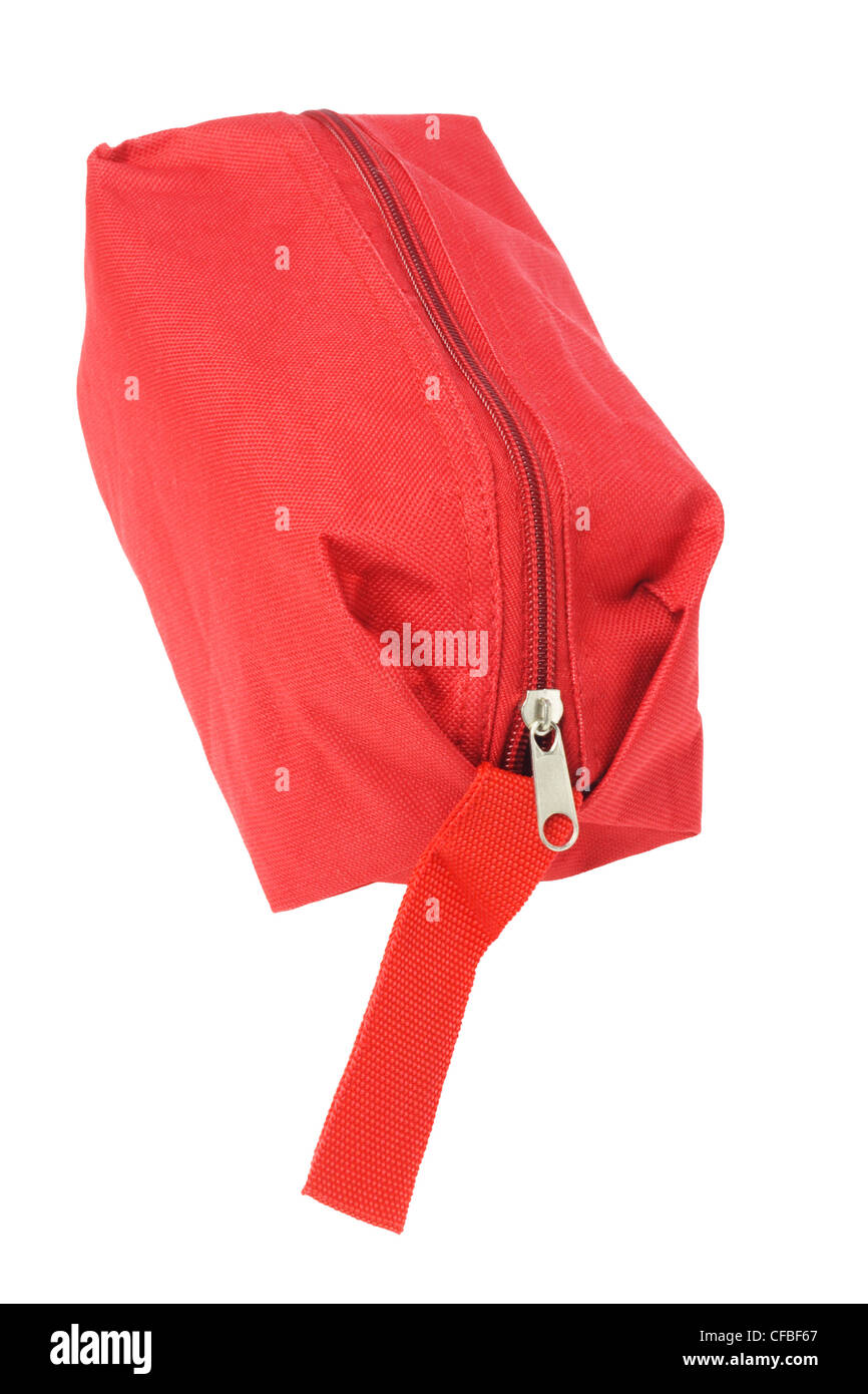 Red Hand Bag on White Background - Stock Image