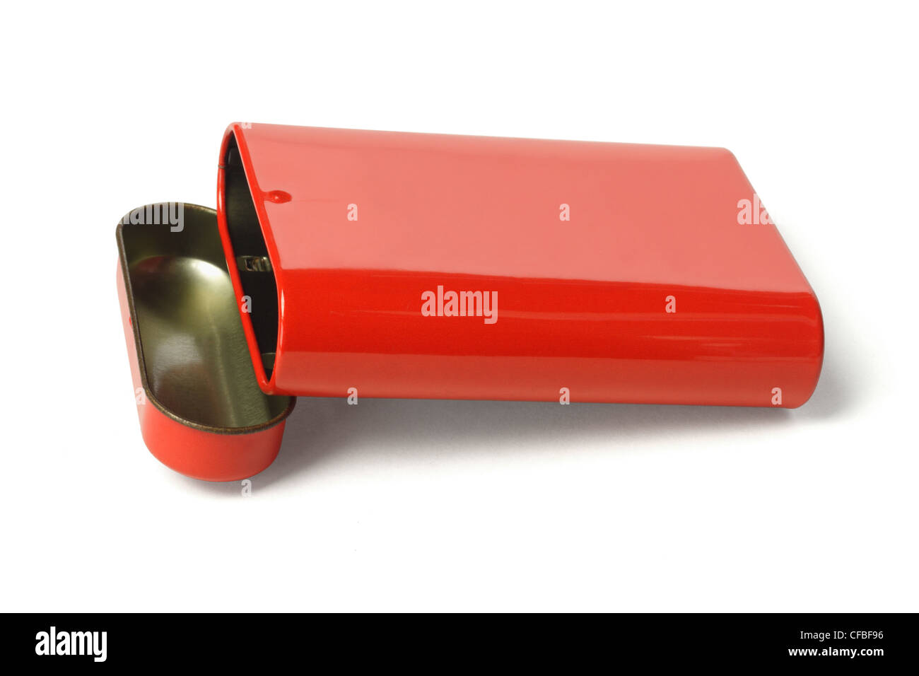 Open Red Metal Box on White Background Stock Photo
