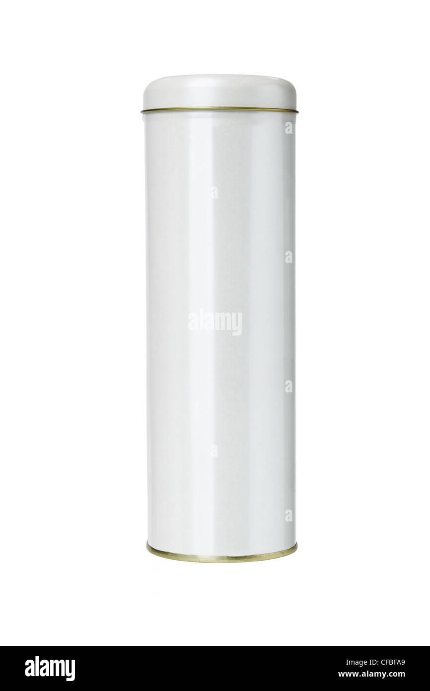 Cylindrical Shaped Metal Gift Container on White Background - Stock Image