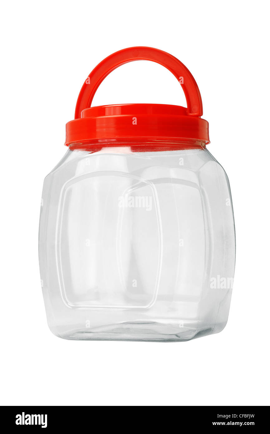 Transparent Empty Plastic Container on white Background - Stock Image