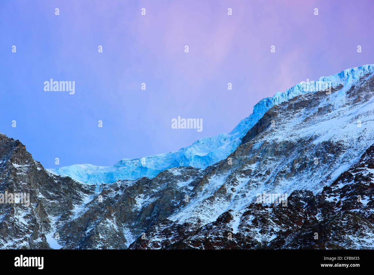 Evening mood, slopes, inclinations, glacier, slope glacier, Lötschental, Valais, Switzerland, Europe, alpine, - Stock Image