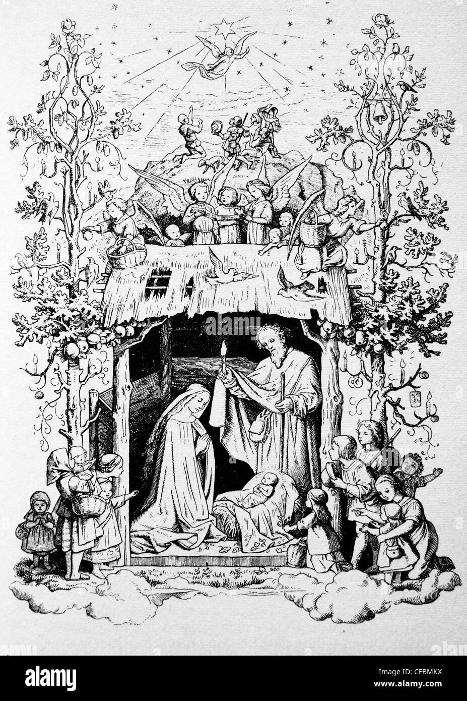 crib - christmas - bethlehem - old lithography - Stock Image