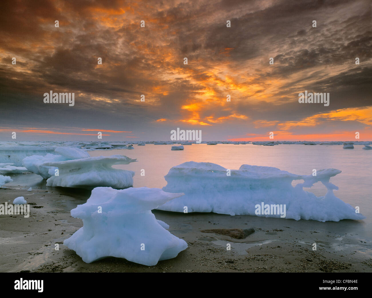 Icebergs in Hudson's Bay, Churchill, Manitoba, Canada - Stock Image