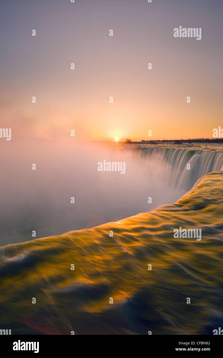 Horseshoe Falls at sunset from Table Rock viewpoint, Niagara Falls, Ontario - Stock Image