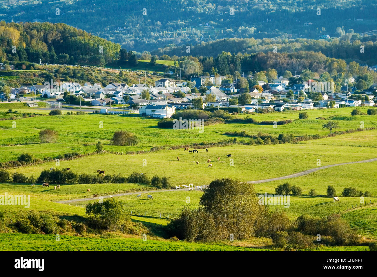 Picturesque suburb of La Malbaie in close proximity to farms and pastures, Charlevoix, Quebec, Canada - Stock Image