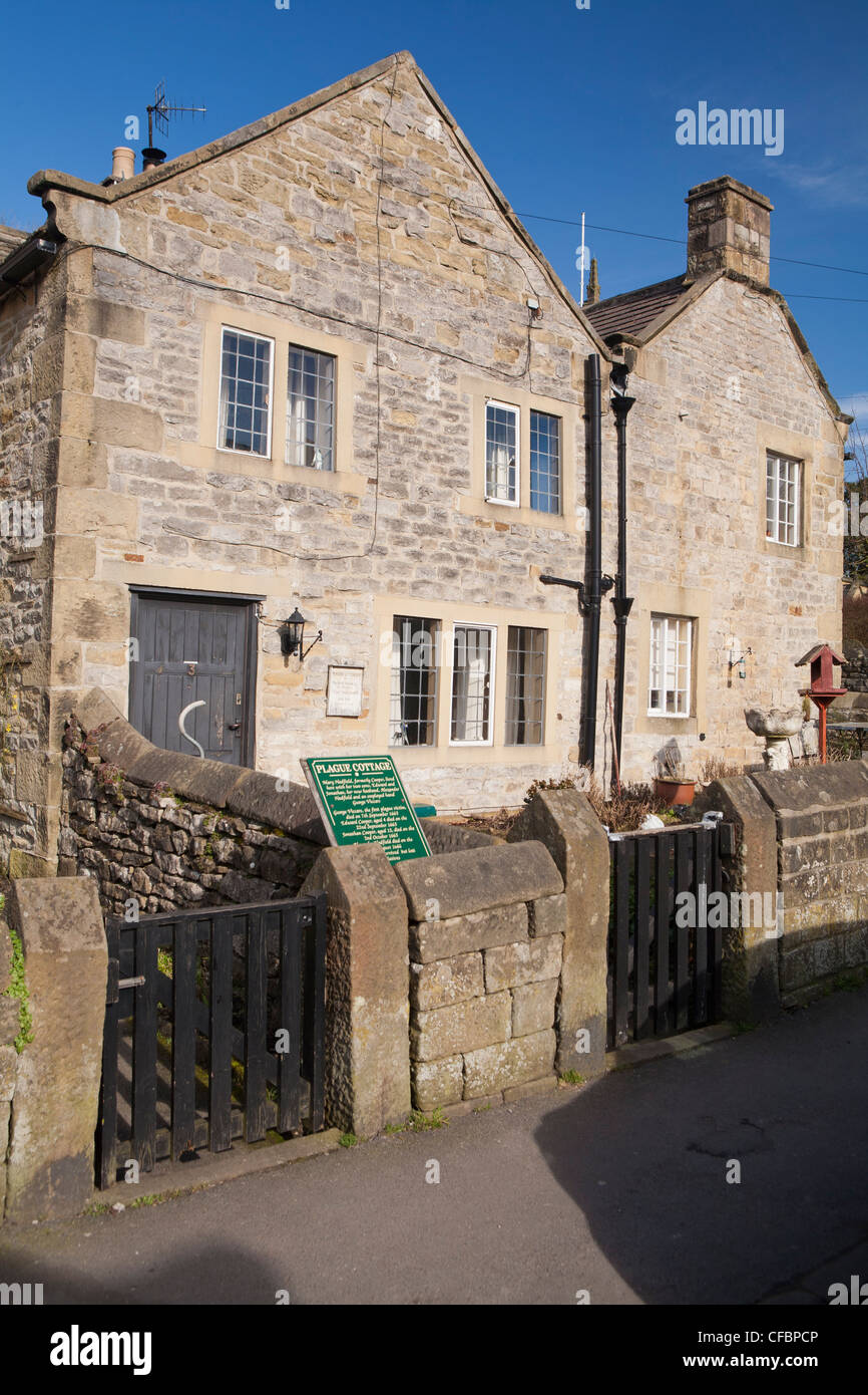 Plague cottages, Eyam, Derbyshire, England UK - Stock Image