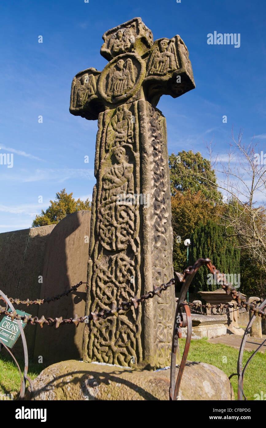 Saxon preaching cross, Eyam, Derbyshire, England UK - Stock Image