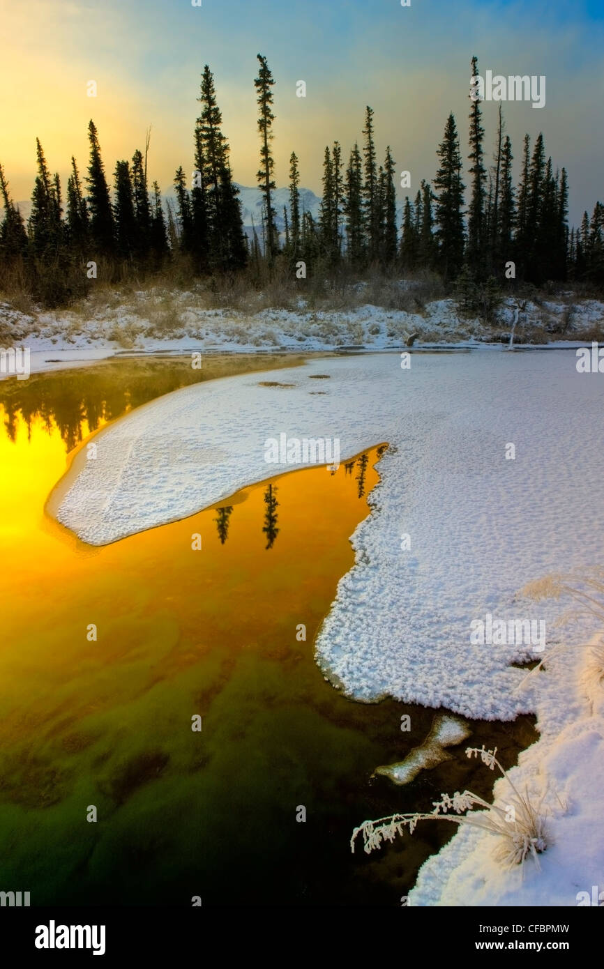 Sunrise at The Glory Hole springs, Jasper National Park, Alberta, Canada - Stock Image