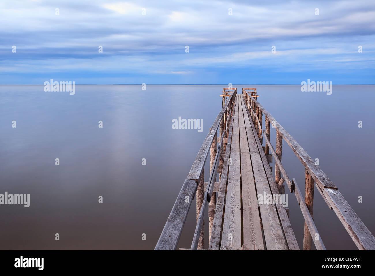 Wooden pier on Lake Winnipeg. Matlock, Manitoba, Canada. Stock Photo