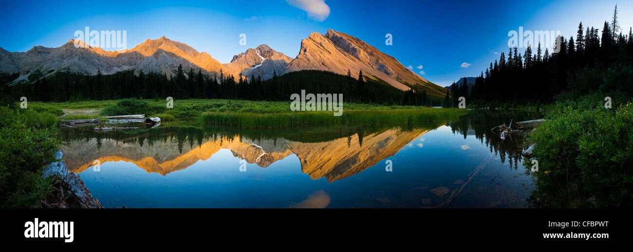 Panoramic view from Elbow Lake's outlet stream, Kananaskis Country, Alberta, Canada - Stock Image