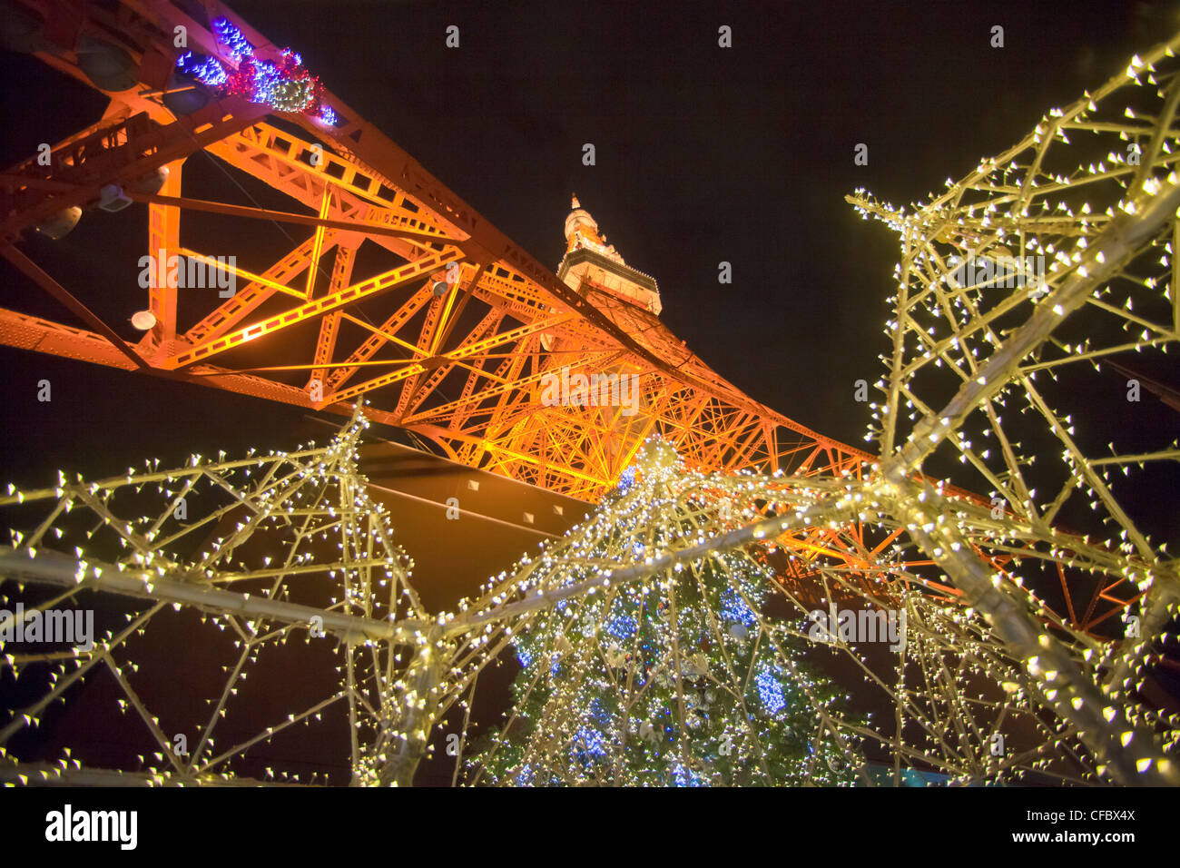 Japan, Asia, Tokyo, city, Tokyo Tower, architecture, illumination, iron, red, steel, tower, night, lights, Christmas - Stock Image