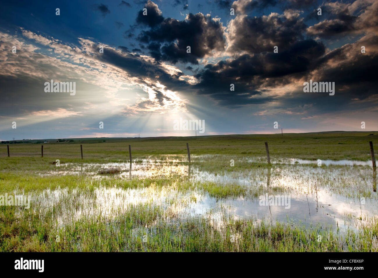 Storm over Prairie near Morse, Saskatchewan, Canada. - Stock Image