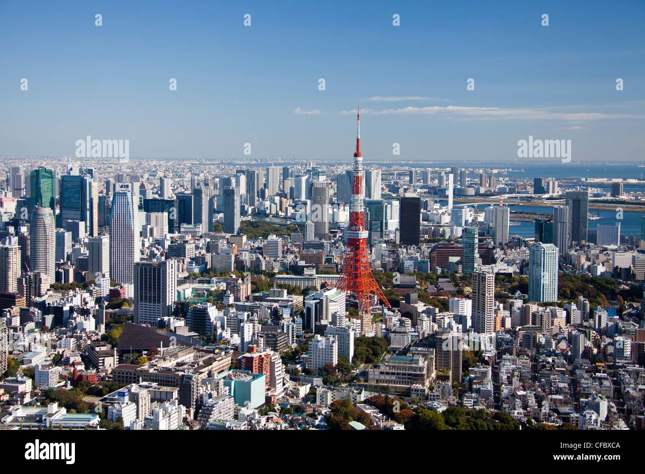 Japan, Asia, Tokyo, city, Tokyo Skyline, Tokyo Tower, architecture, big, buildings, city, huge, metropolis, modern, - Stock Image