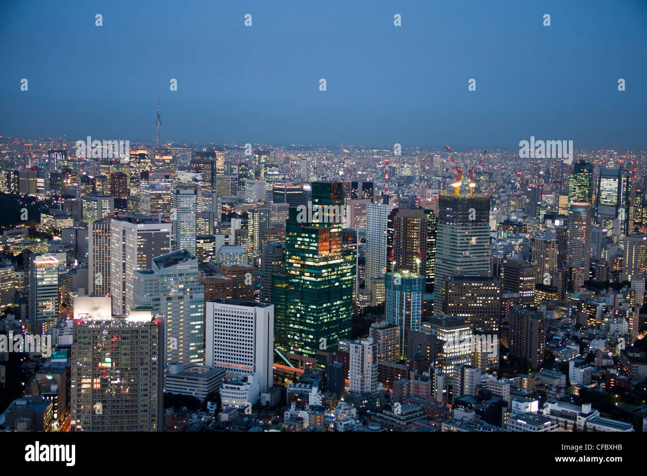 Japan, Asia, Tokyo, city, Central Tokyo, Sky Tree Tower, architecture, big, buildings, city, downtown, huge, lights, - Stock Image