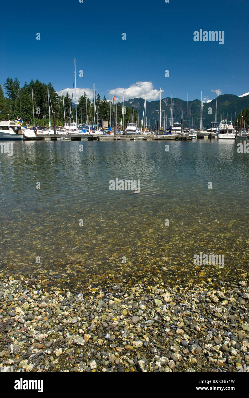 The small harbour of Snug Cove Bowen Island BC Canada - Stock Image