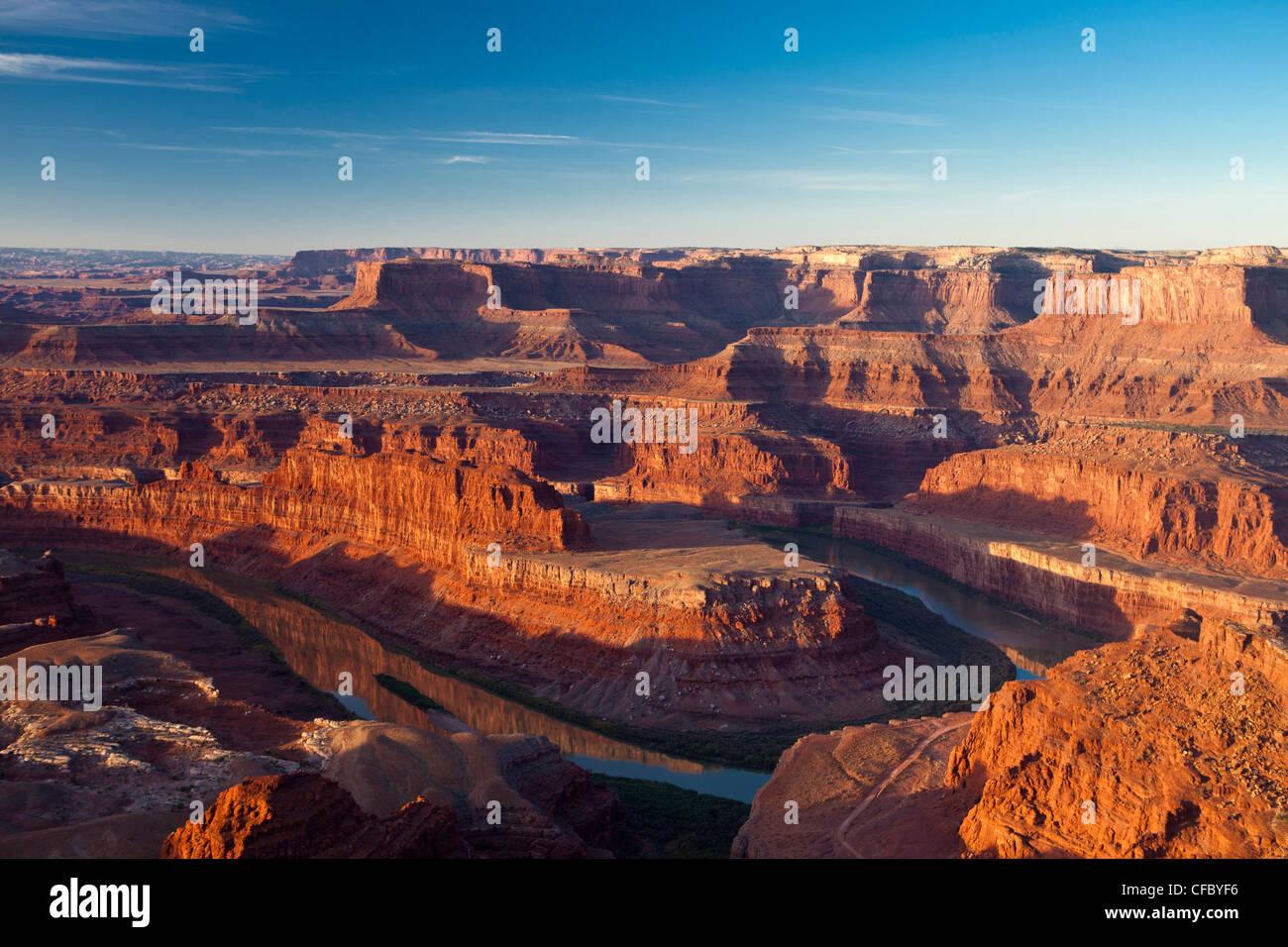 USA, United States, America, Utah, Canyonlands Park, Dead Horse, Point, Colorado river, adventure, big, deep, dry, - Stock Image