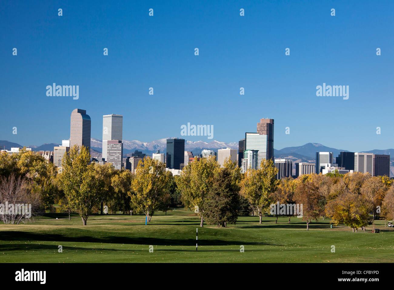 USA, United States, America, Colorado, Denver, City, Downtown, Skyline, Colorado Mountains, Autumn, architecture, - Stock Image