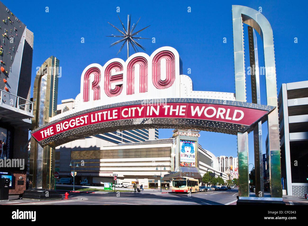 USA, United States, America, Nevada, Reno, City, casino, entrance, famous, gambling, sign, type, touristic, travel - Stock Image