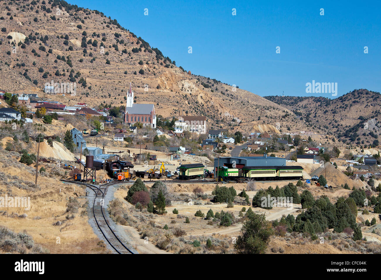 USA, United States, America, Nevada, Old Virginia City, Train Station, gold rush, historic, mines, rush, train, - Stock Image