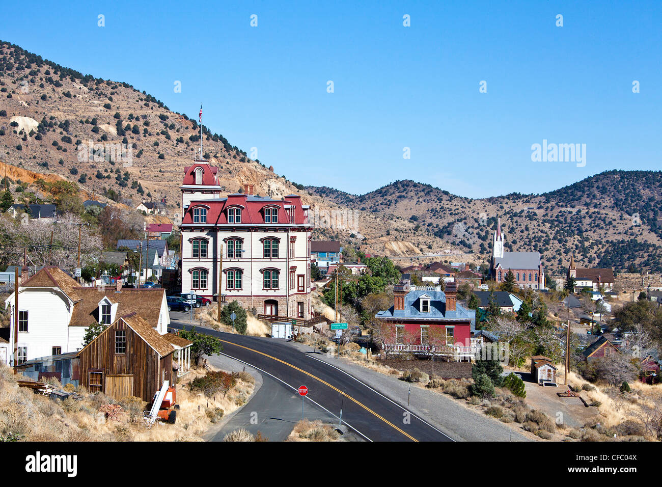 USA, United States, America, Nevada, Old Virginia City, Fourth  Ward School, attraction, gold rush, historic, melancholic, - Stock Image