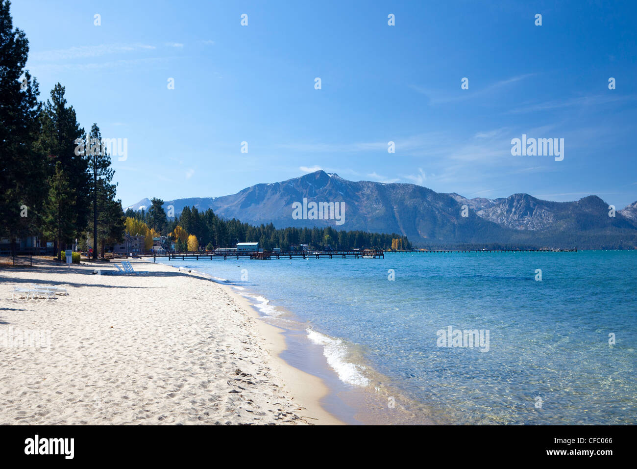 USA, United States, America, California, Lake Tahoe, lake, shore, attraction, beach, blue, destination, famous, - Stock Image