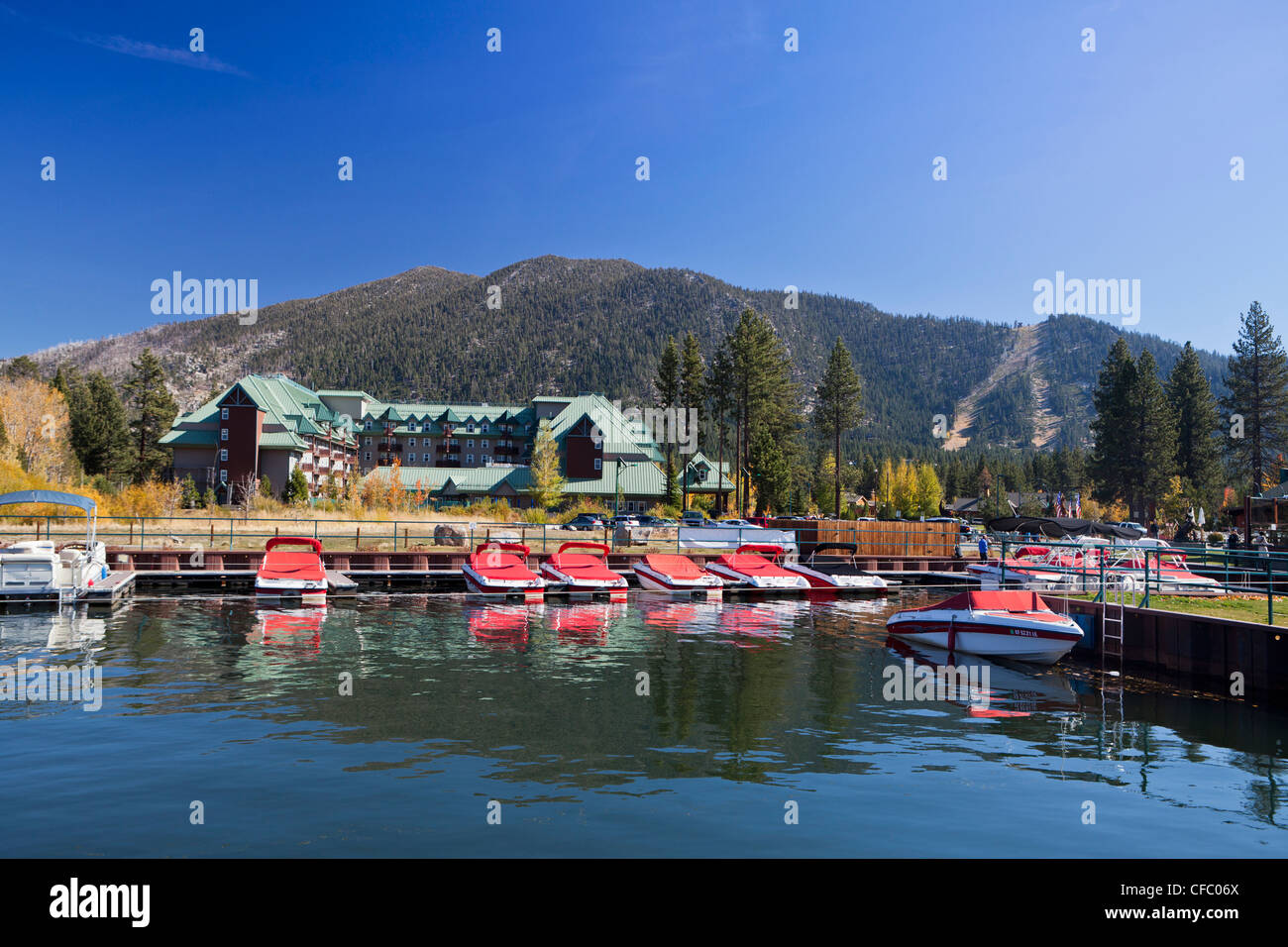 USA, United States, America, California, Lake Tahoe, lake, shore, attraction, beach, blue, boats, destination, famous, - Stock Image