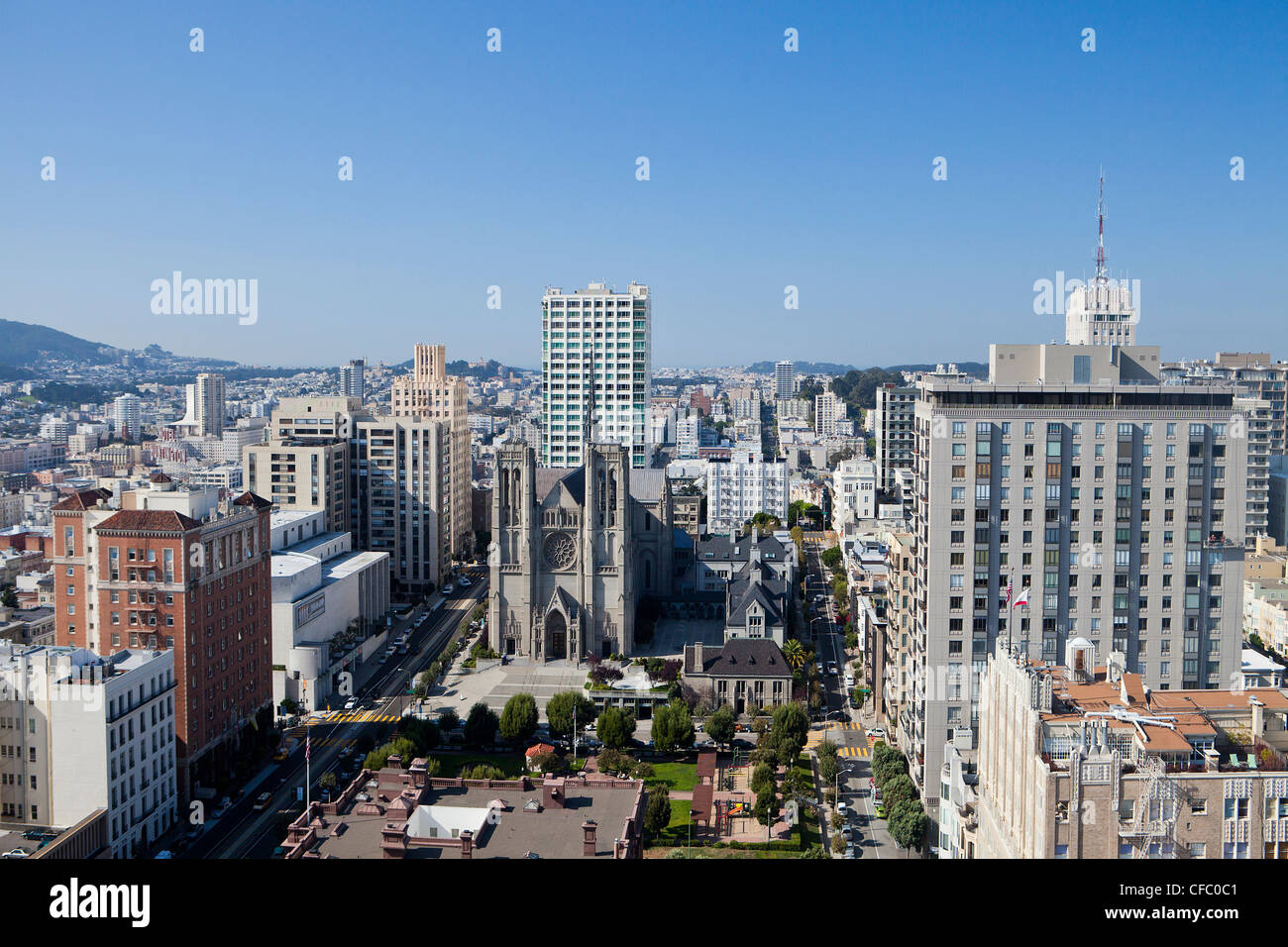 USA, United States, America, California, San Francisco, City, Grace Cathedral, church, downtown, skyline, square - Stock Image