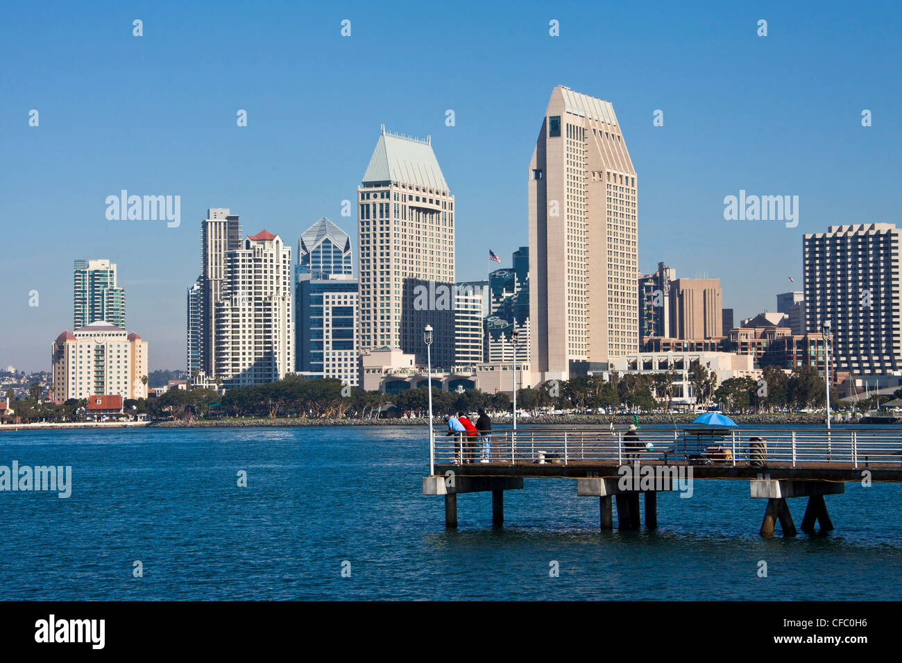 USA, United States, America, California, San Diego, City, Downtown, from Coronado, peninsula, bay, downtown, pier, - Stock Image