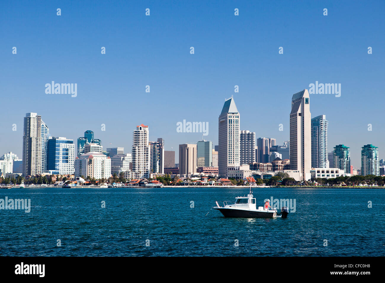 USA, United States, America, California, San Diego, City, Downtown, from Coronado, peninsula, bay, boat, downtown, - Stock Image