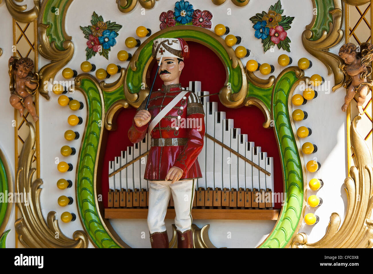 Old Wiesn, Bavaria, Germany, Europe, beer festival, October, tradition, figure, figures, concert organ, Limonaire, - Stock Image