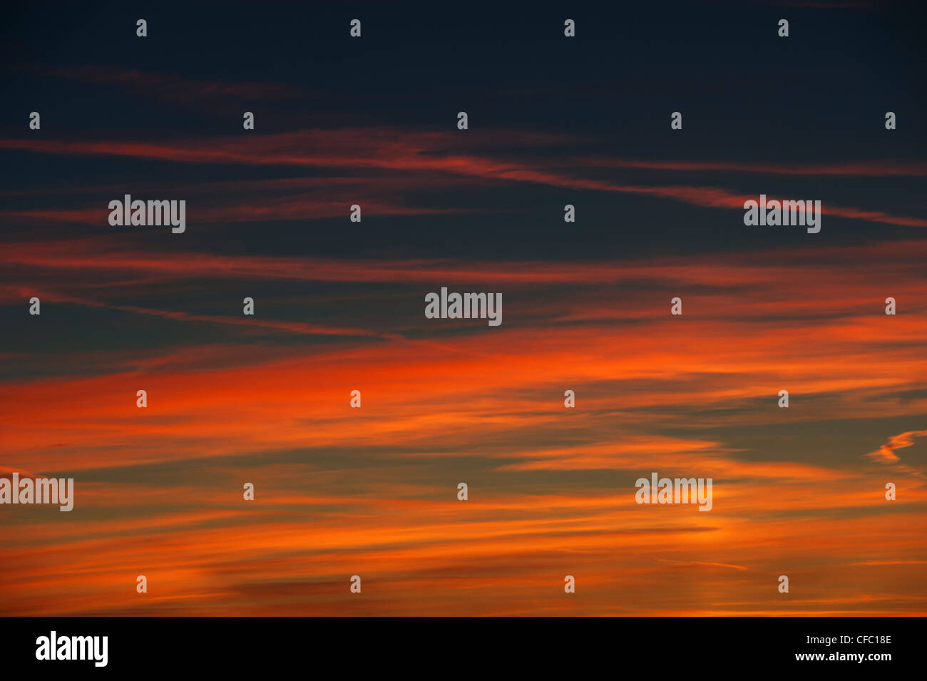 afterglow, sunset glow, red sunset, red evening sky, Emmental, empyrean, sky, canton Bern, Switzerland, sunset, - Stock Image
