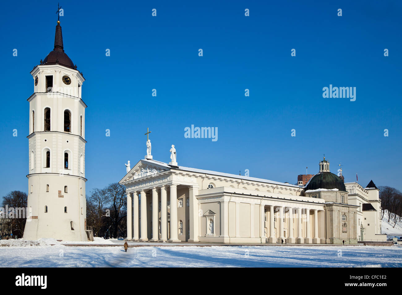 The Cathedral of Vilnius in the snow - Stock Image