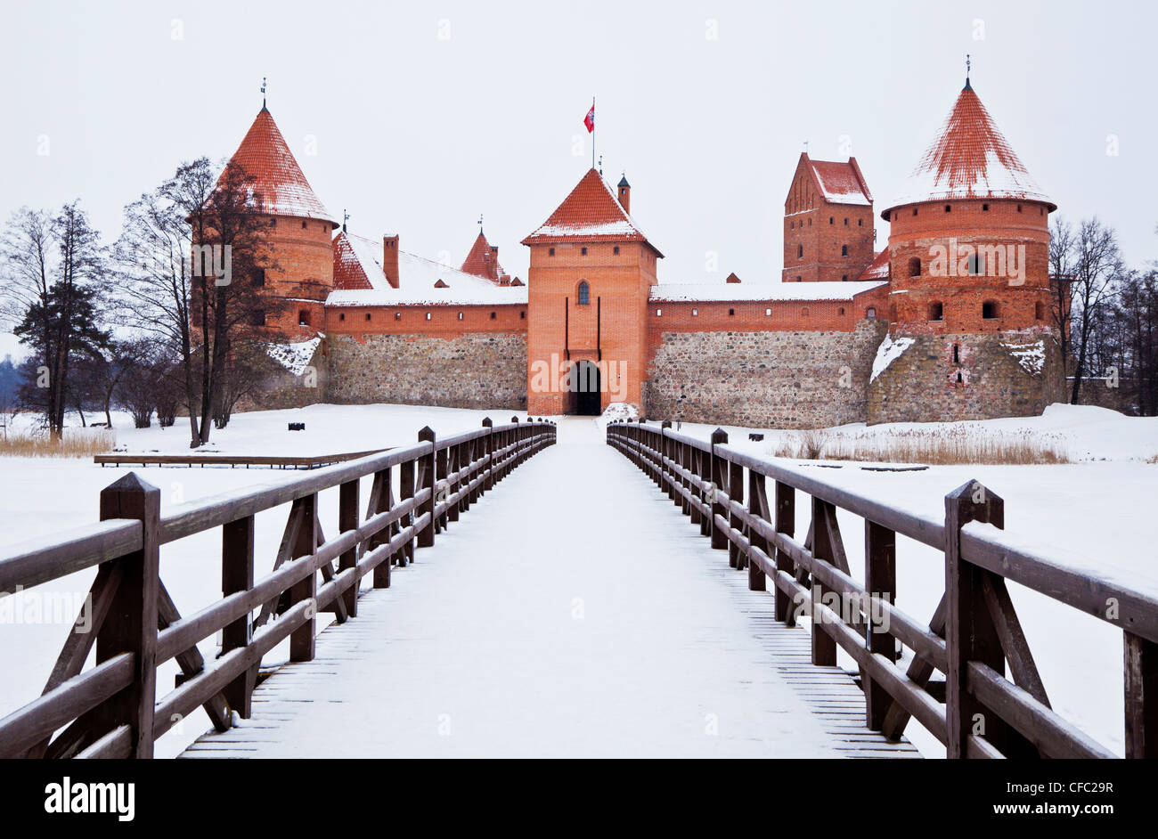 Trakai Castle viewed from the bridge near Vilnius, Lithuania Stock Photo