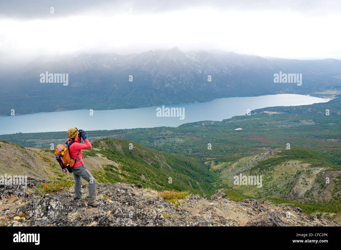 A woman surveys over Tatlayoko Lake with binoculars, British Columbia Coast Mountains - Stock Image