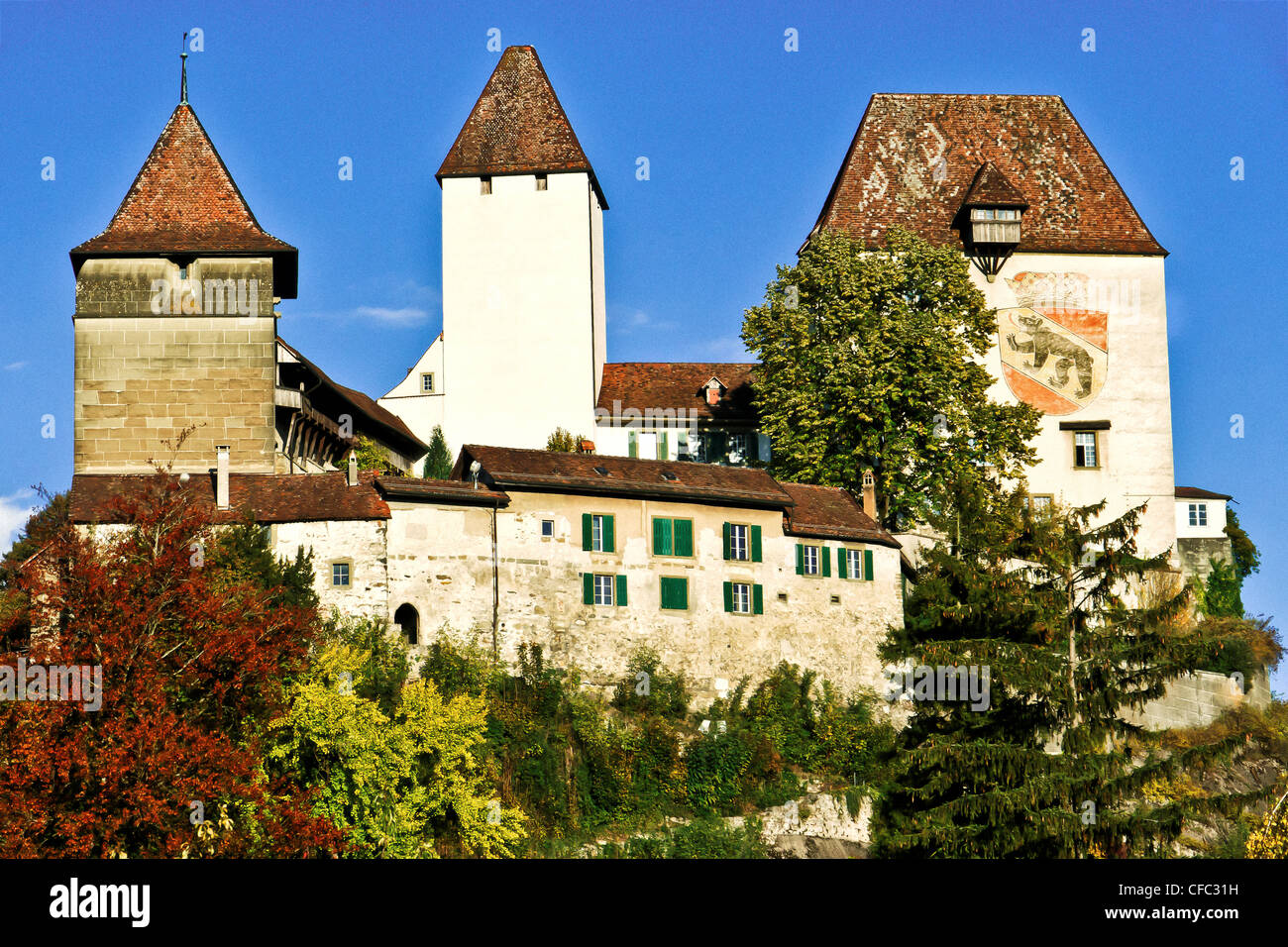 historic building, heritage building, monument, Bergfried, coat of arms, crest, castle, Burgdorf, donjon, Emmental, Stock Photo