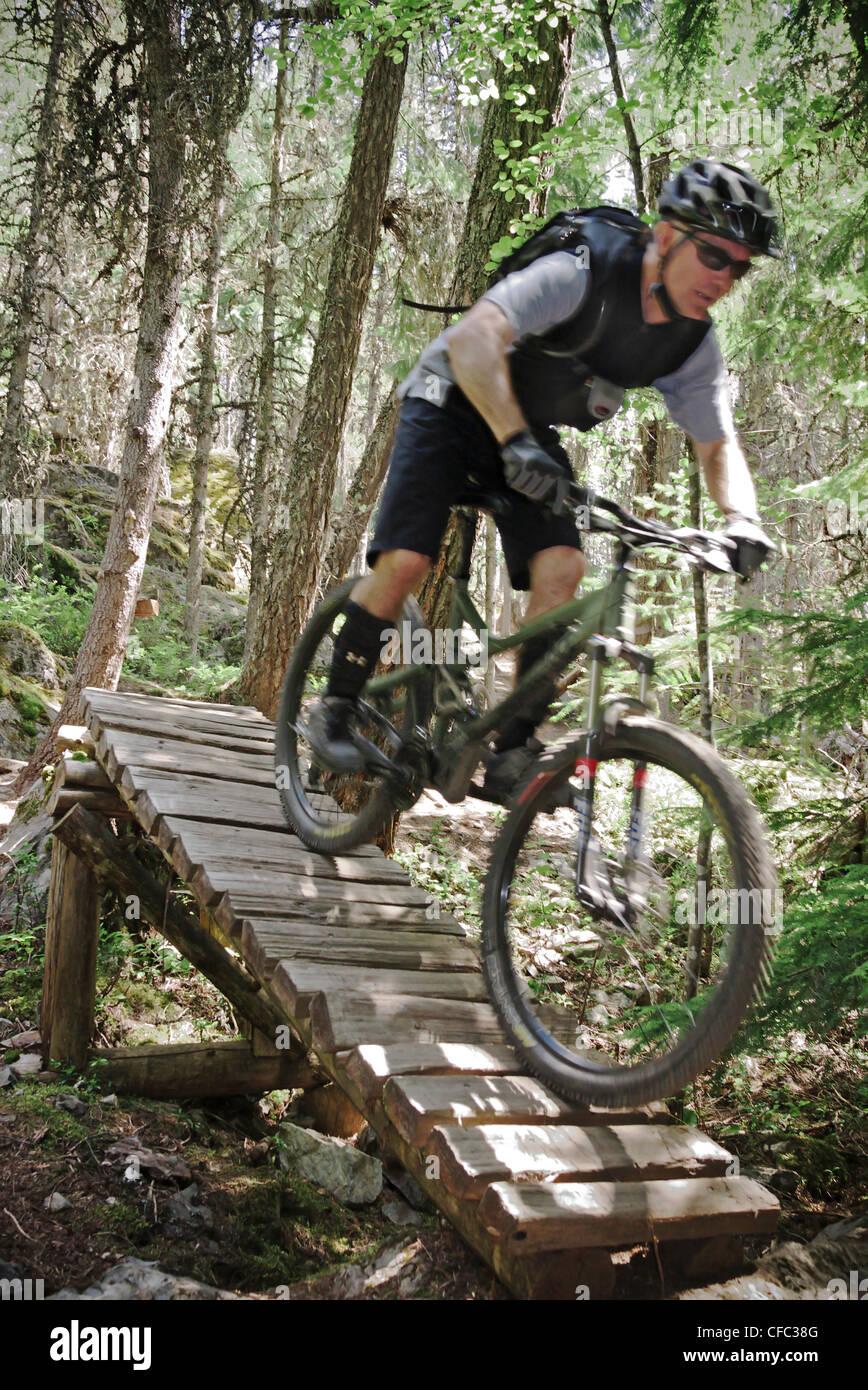 Man riding stunts on Kill Me Thrill Me near Whistler, British Columbia, Canada - Stock Image