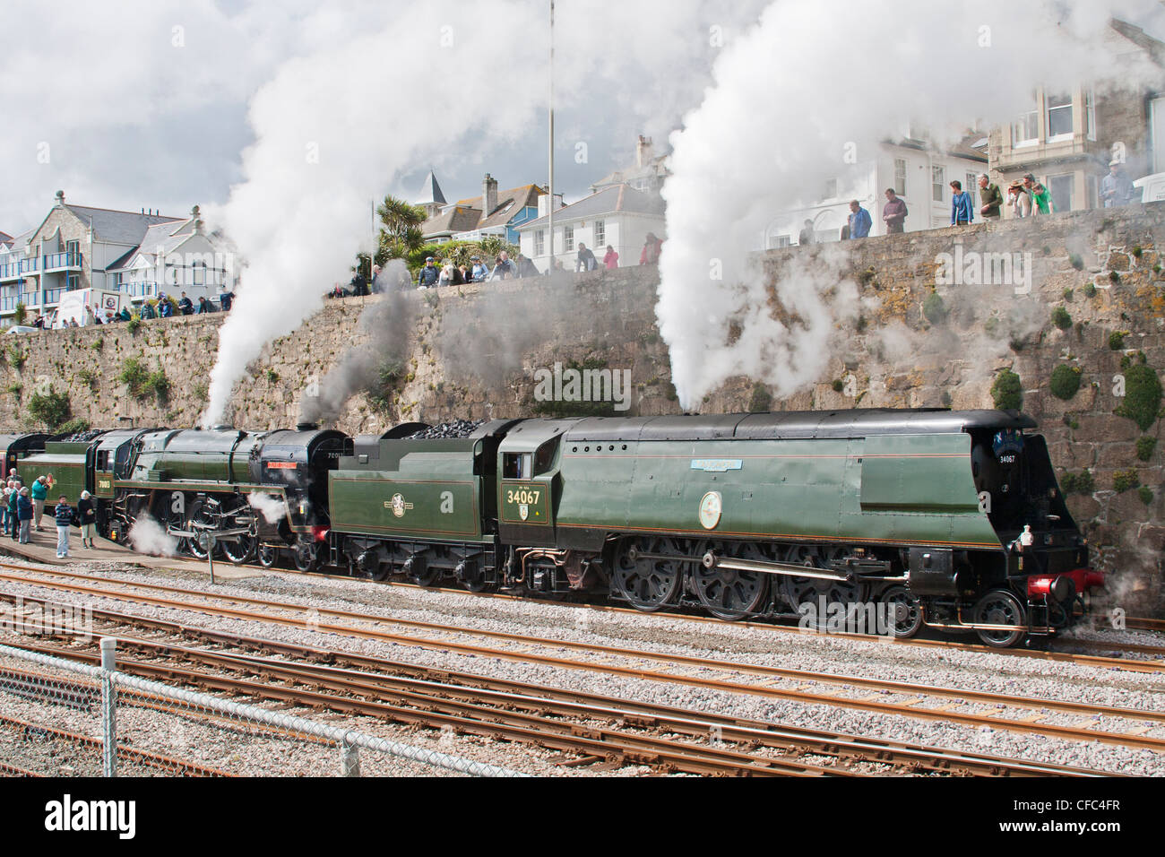 Steam locomotives at Penzance Station  Double header ,West Country Class Tangmere  Britannia Class 7 Oliver Cromwell - Stock Image
