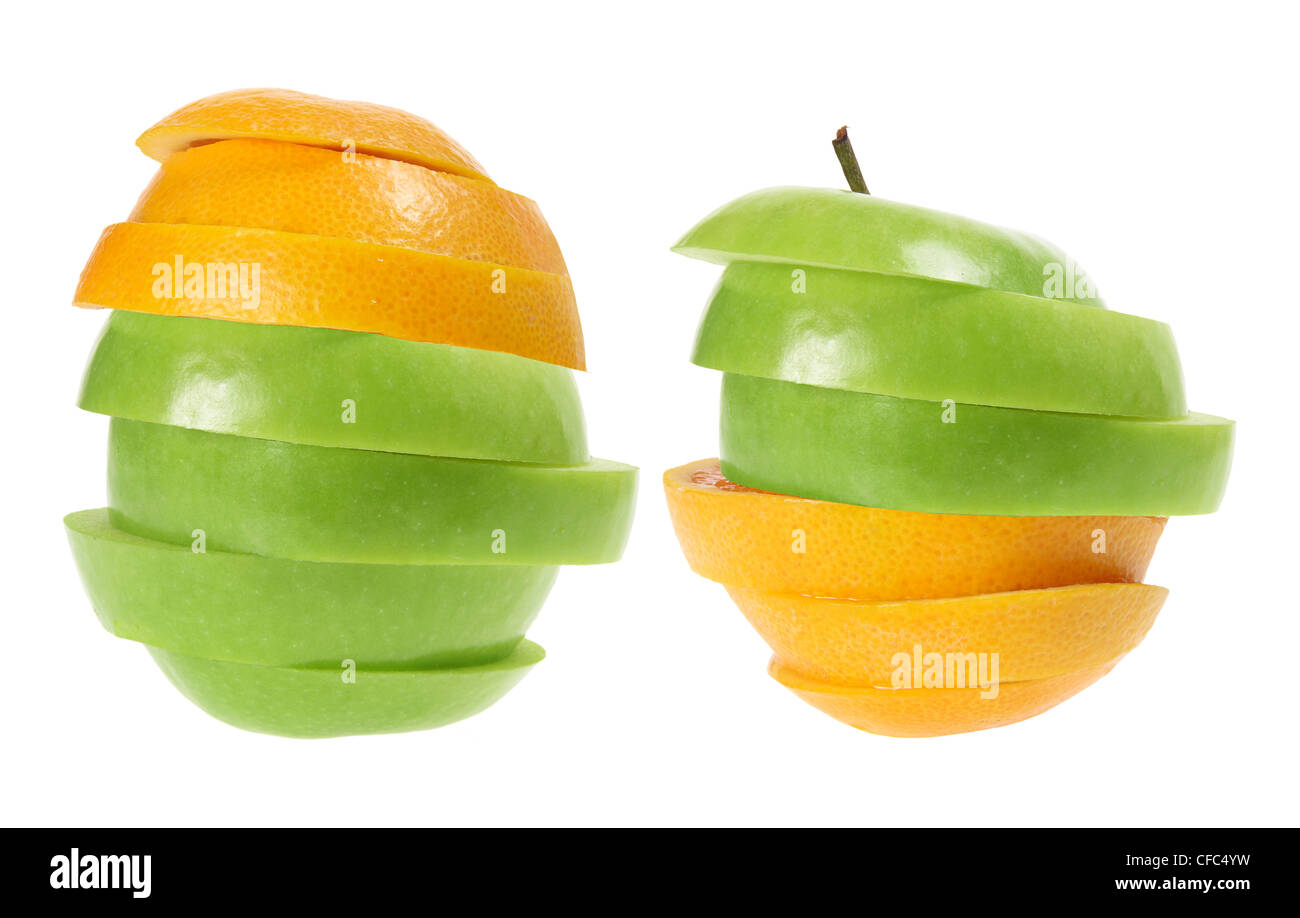 Slices of Apple and Oranges - Stock Image