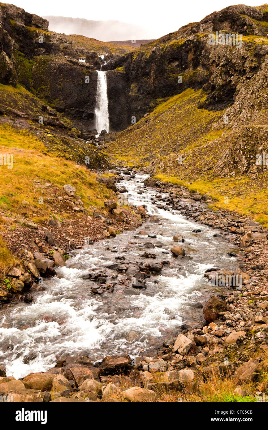 Waterfall, East Fjords, Iceland - Stock Image