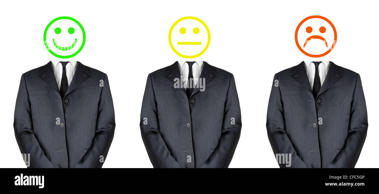 Happy, don't care, sad - three business man with different emoticons - Stock Image
