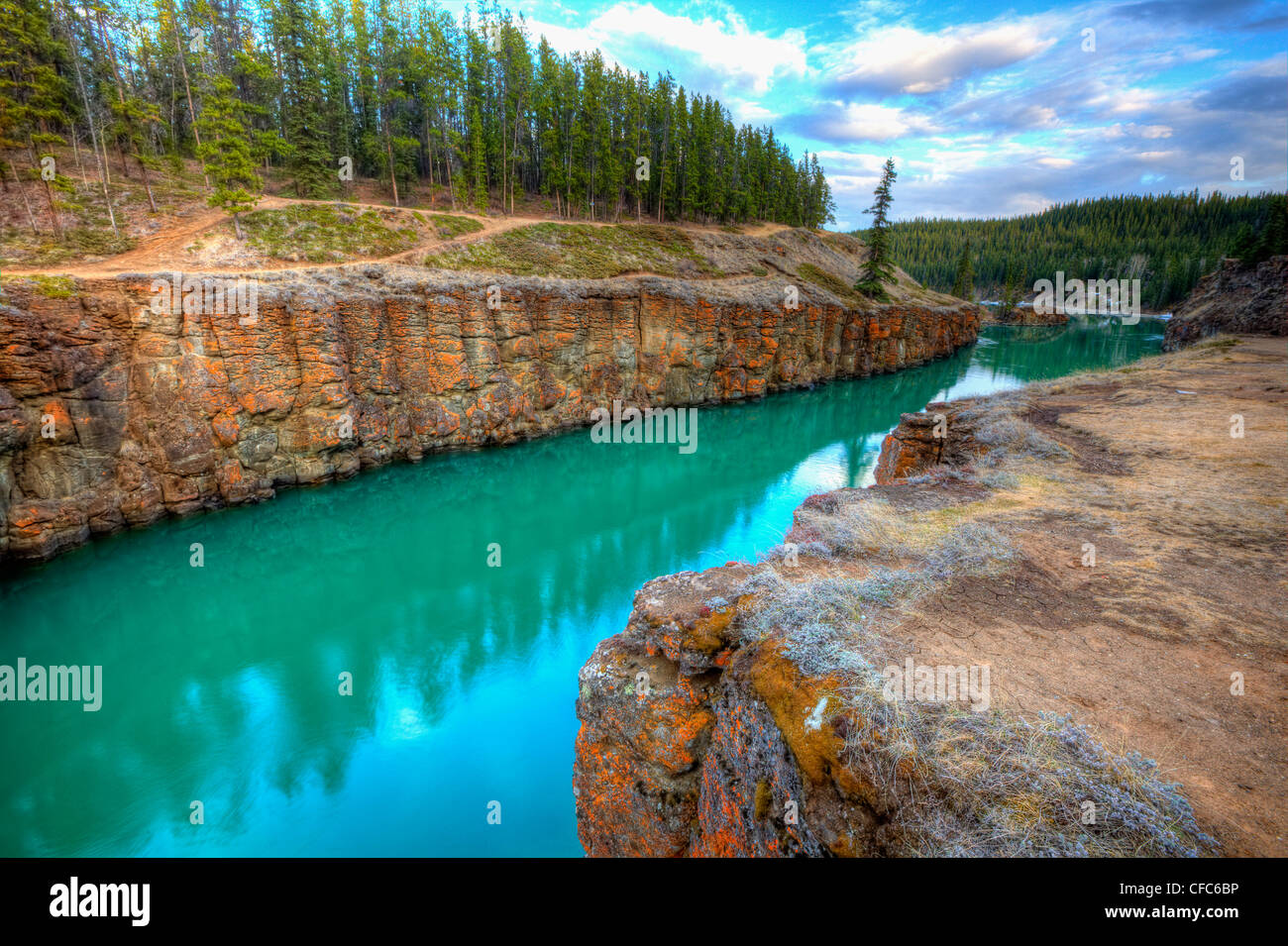 Miles Canyon at sunset in Whitehorse - Stock Image